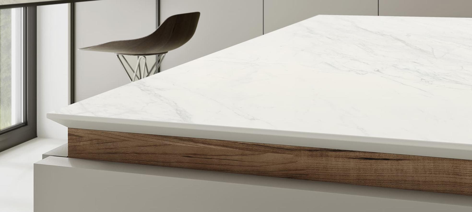 XTONE Porcelanosa - plan de travail en céramique effet marbre - Comprex & Armony Cuisine La Garenne Colombes
