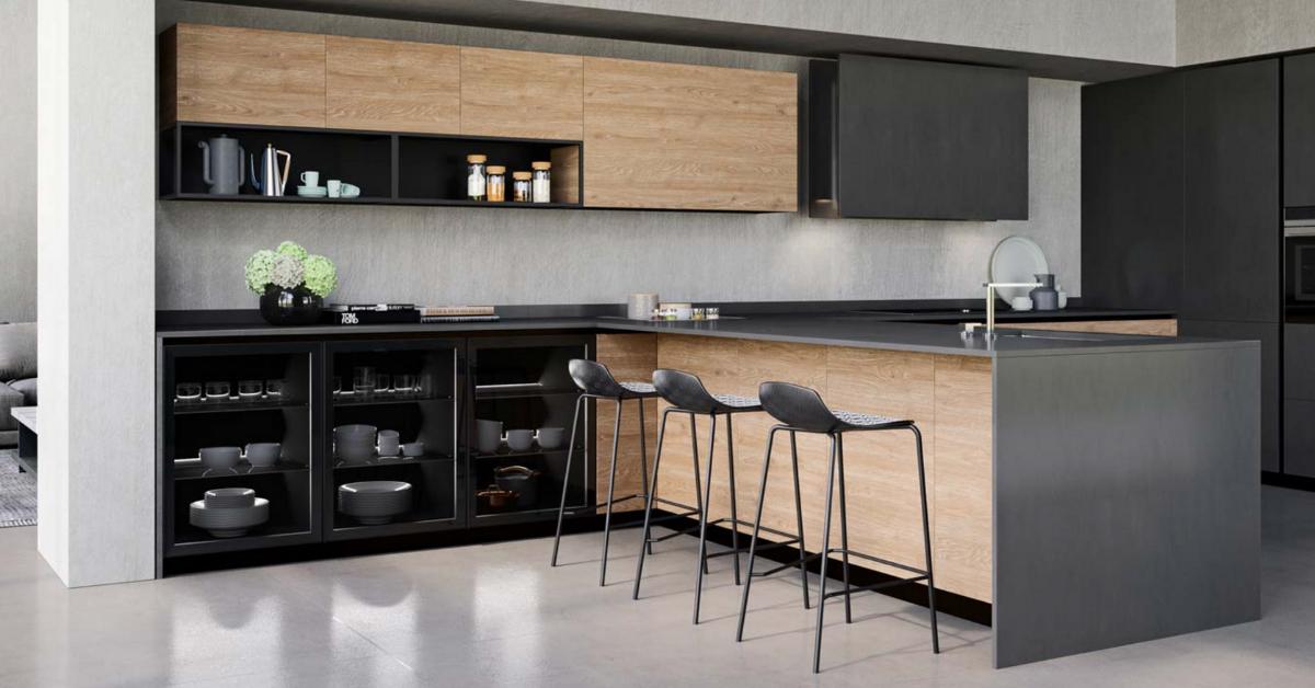 Un espace bar dans votre cuisine - configuration avec îlot central⎮ Armony Cuisine La Garenne-Colombes
