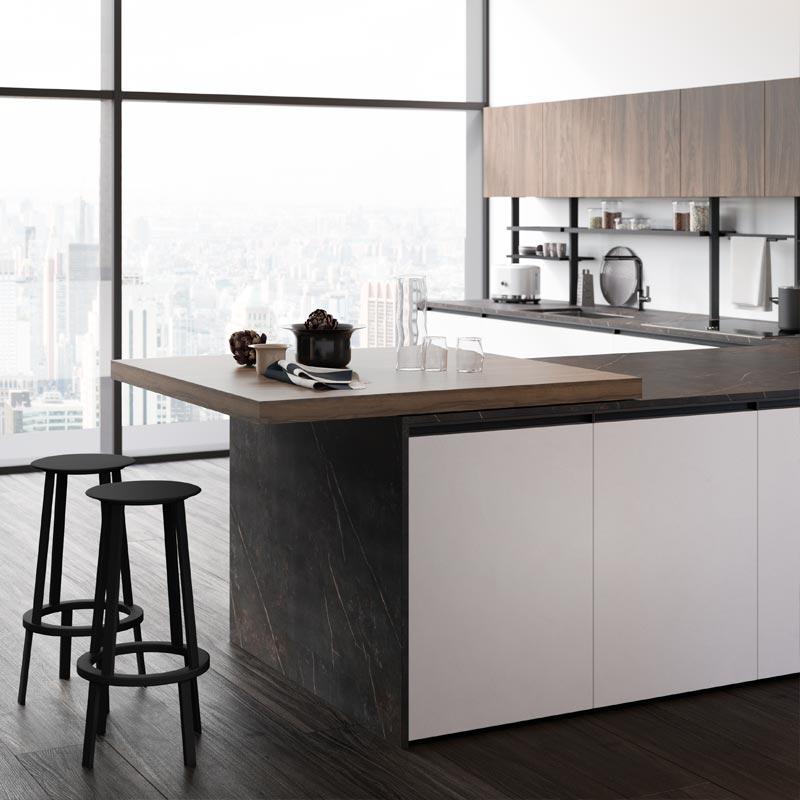 Un espace bar dans votre cuisine - plateau coulissant⎮ Armony Cuisine La Garenne-Colombes