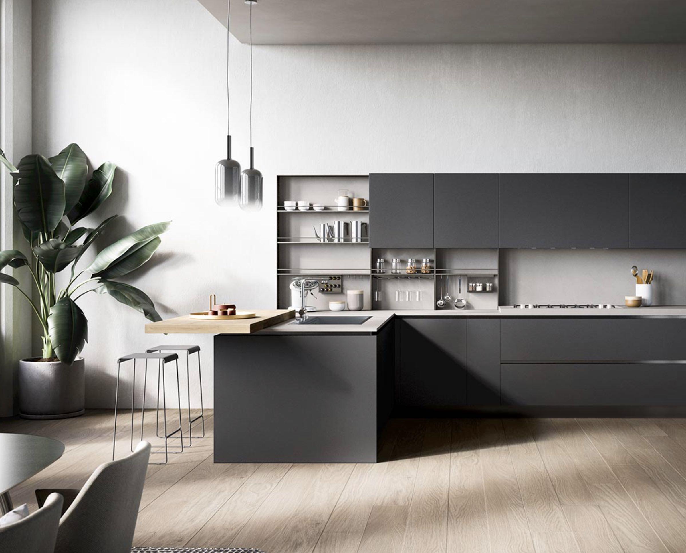 Un espace bar dans votre cuisine - configuration en L⎮ Armony Cuisine La Garenne-Colombes