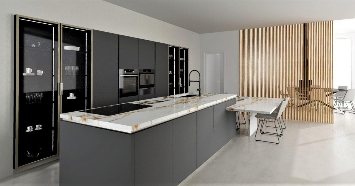 Cuisine avec claustra ⎮ Showroom Immodesign - Binova & Armony cuisine - Showroom La Garenne Colombes